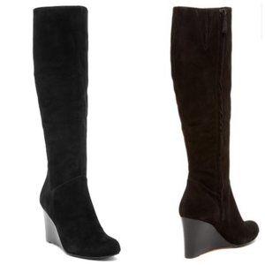 Cole Haan Suede Knee High  Cora Wedge Boots